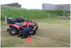 Tatrol officer using ATV for search of evidence and search and rescue missions.